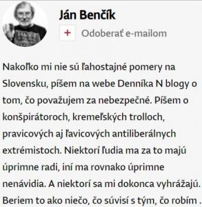 Ján Benčík curiculum blogera Denníka N
