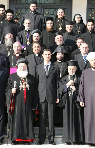 Sýrski duchovní lídri na stretnutí s Assadom v roku 2007, Zdroj: nytimes.com